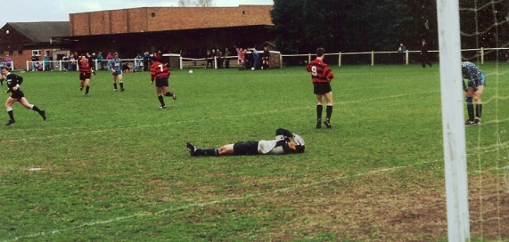 A Familiar scene at the Hithercroft in the 90's. Goal-Scoring Legend Steve Wood celebrating another goal! Over 174 Goals for Wallingford in over 236 games upto 2004 after joining in 1983 and who is still playing for Wallingford in 2014/15!