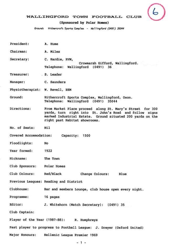 WTFC 1988-89 Details