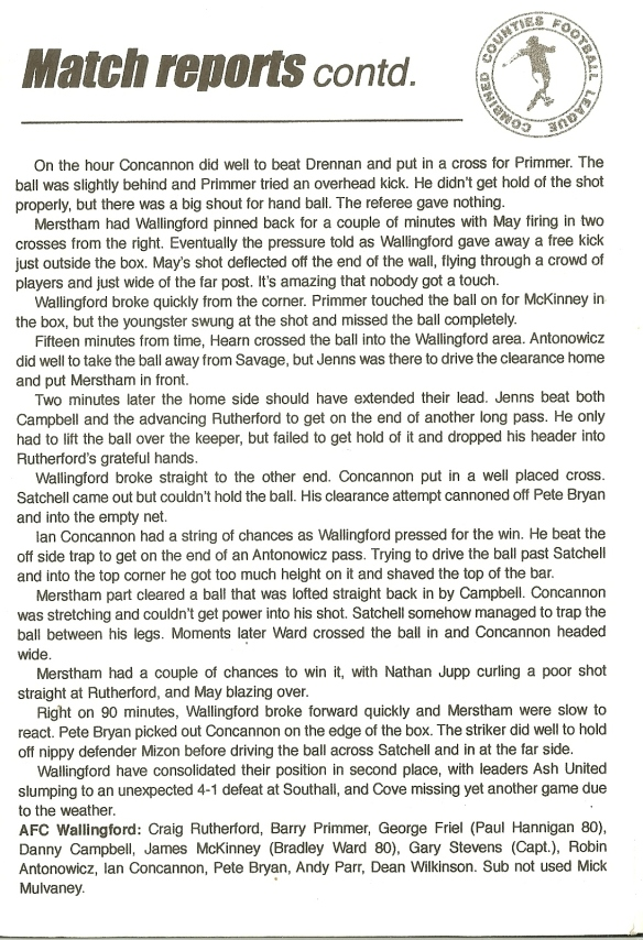 RPV Merstham match report pt2
