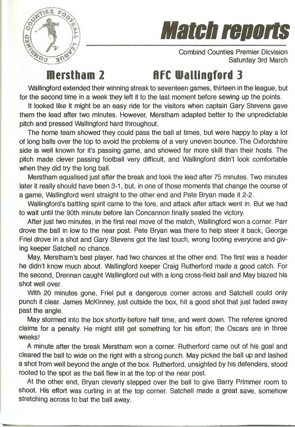 RPV Merstham matchreport pt1