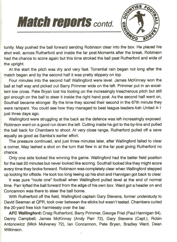 RPV001 Southall matchreport pt2