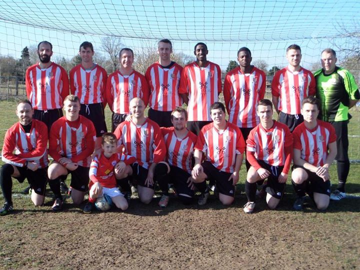 WTAFC Reserves 2014/15. The League-Cup Semi-Final winning team and mascot pose before beating Berinsfield Reserves 2-1 at Long Wittenham FC on Sat 7th March 2015.