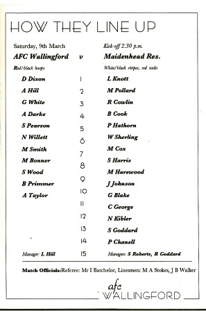 Actual Team. Wallingford lost the game 1-2 with Barry Primmer scoring for Wallingford.