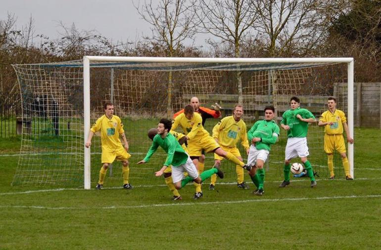 Wallingford in Charity Shield Semi-Final action against Saxton Rovers at Sutton Courtenay FC.